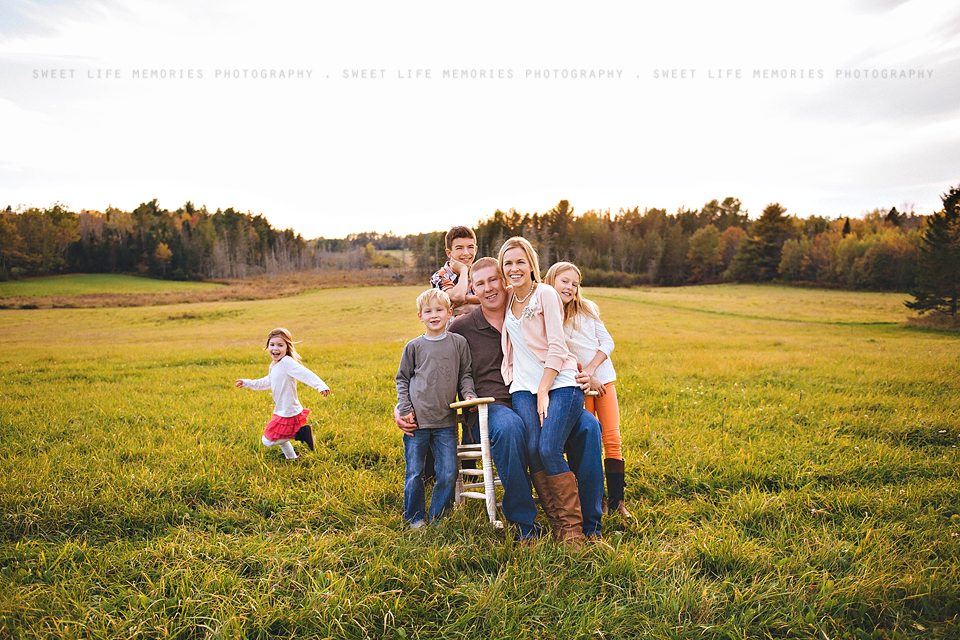 fun family photo with a runaway kid