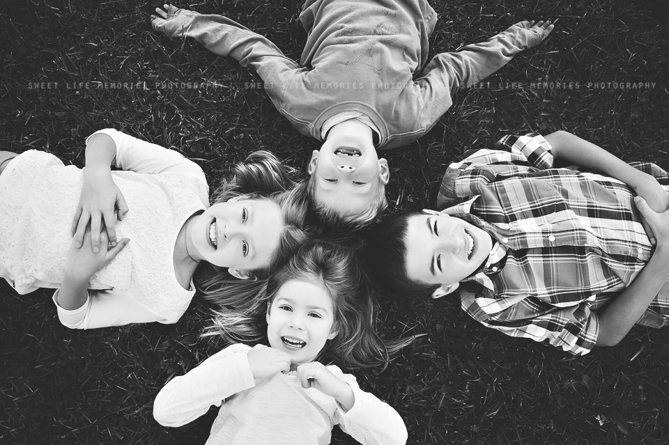 four kids from a birds-eye view