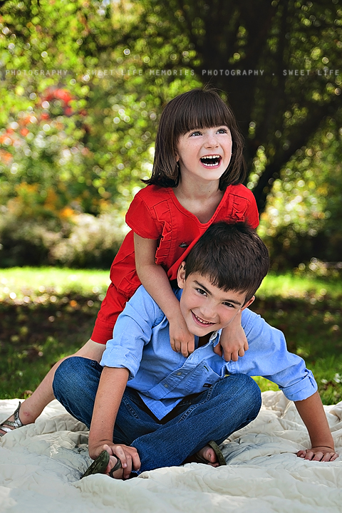 happy brother and sister in a playful photo