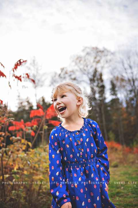 happy girl in a blue dress and red orange leaves