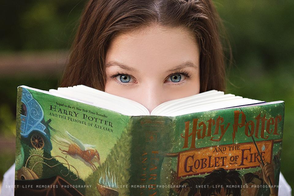 senior girl reading harry potter