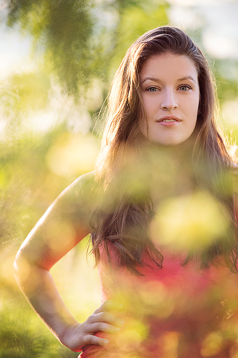 senior model through leaves